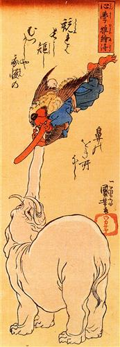 Elephant catching a flying tengu, by Kuniyoshi Utagawa